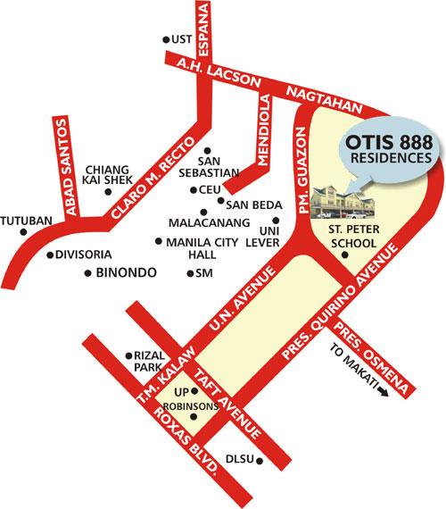 Otis 888 Residences - Location Map