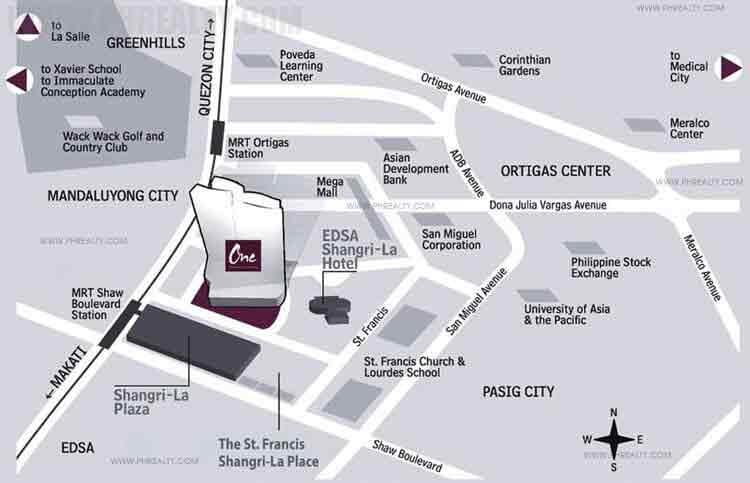 One Shangri-la Place -Location Map